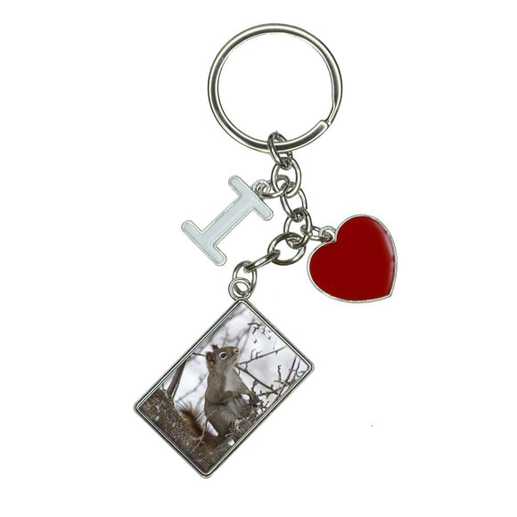 Winter Forest Tree Squirrel I Heart Love Keychain Key Ring
