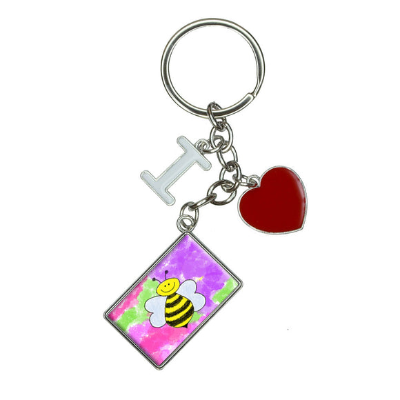 Busy As A Bee Watercolor I Heart Love Keychain Key Ring