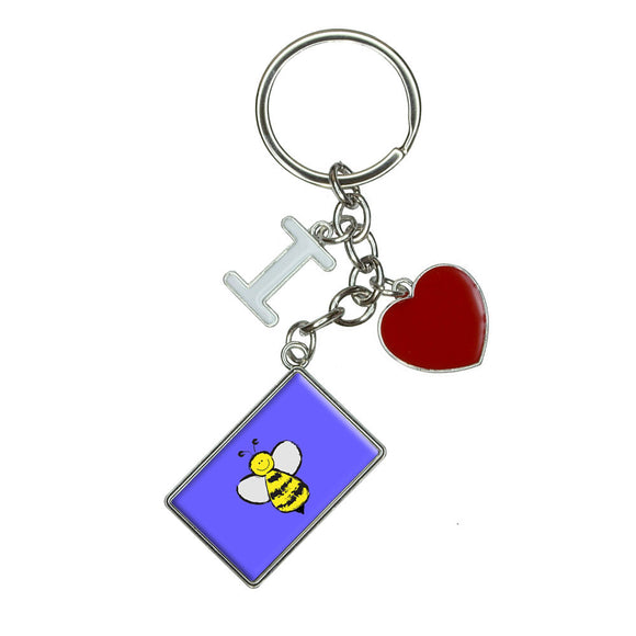 Busy As A Bee I Heart Love Keychain Key Ring