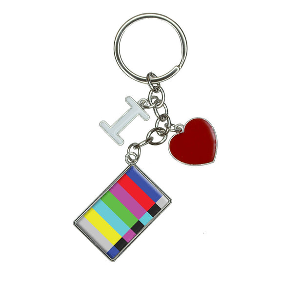 Test Television Color Bars I Heart Love Keychain Key Ring