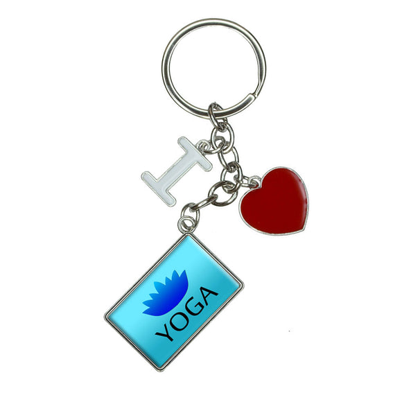 Yoga Lotus Flower I Heart Love Keychain Key Ring