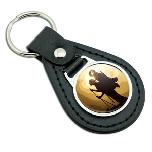 Heavenly Hike Black Leather Metal Keychain Key Ring