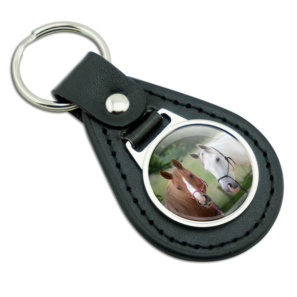 Just Horsing Around Black Leather Metal Keychain Key Ring