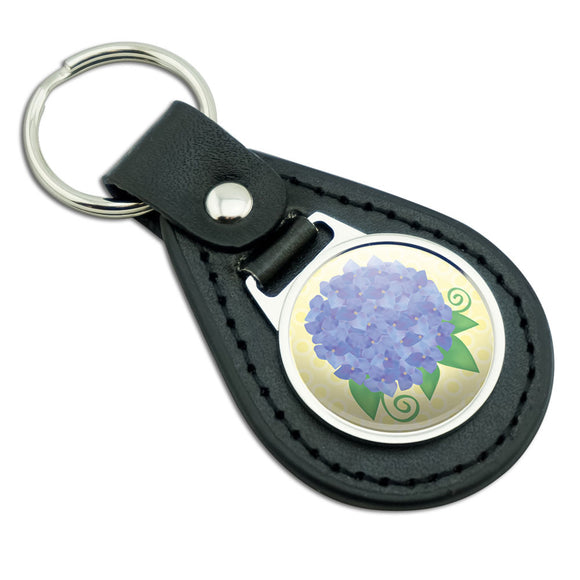 Hydrangea Flower Garden Yellow Black Leather Metal Keychain Key Ring