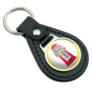 Gumball Machine Candy Black Leather Metal Keychain Key Ring