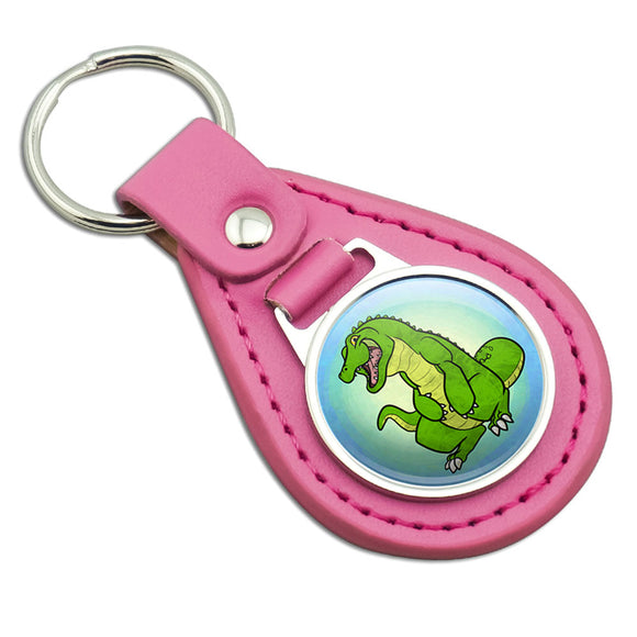 Happy Alligator Pink Leather Metal Keychain Key Ring