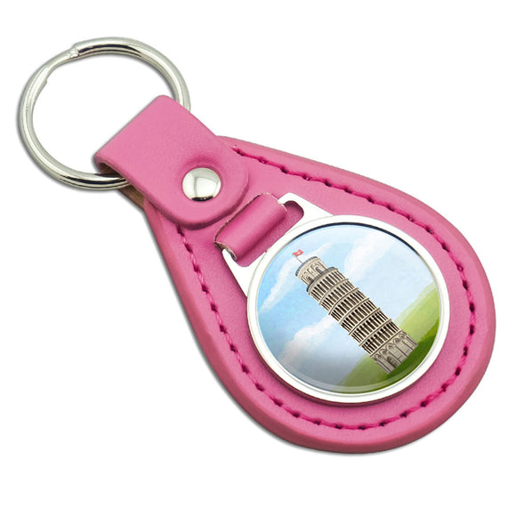 Italy Leaning Tower of Pisa Pink Leather Metal Keychain Key Ring