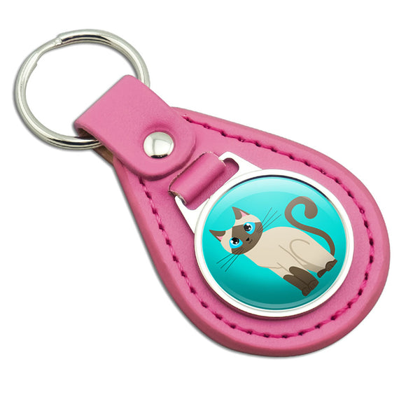 Cute Siamese Cat Pink Leather Metal Keychain Key Ring