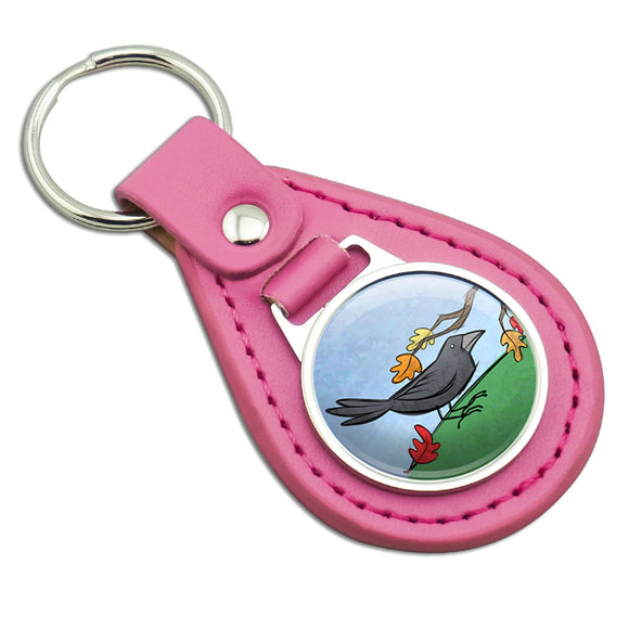 Crow in Autumn Pink Leather Metal Keychain Key Ring