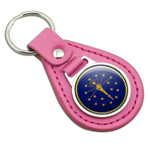 Indiana State Flag Pink Leather Metal Keychain Key Ring