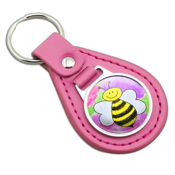 Busy As A Bee Watercolor Pink Leather Metal Keychain Key Ring