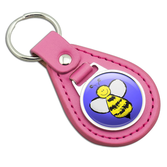 Busy As A Bee Pink Leather Metal Keychain Key Ring