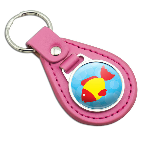 Tropical Fish Red Yellow Pink Leather Metal Keychain Key Ring