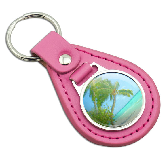 Island Beach Palm Tree Caribbean Vacation 1 Pink Leather Metal Keychain
