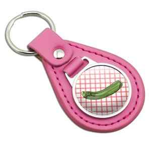 Zucchini Pink Leather Metal Keychain Key Ring