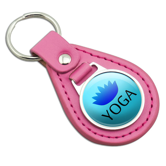 Yoga Lotus Flower Pink Leather Metal Keychain Key Ring