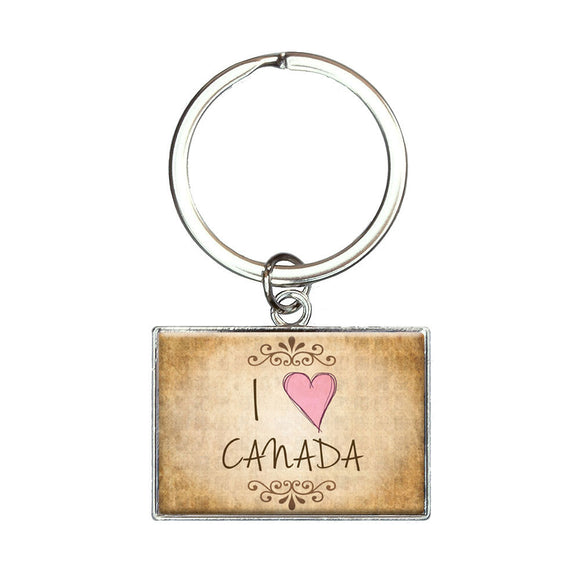 I Heart Love Canada Vintage Rectangle Keychain Key Ring