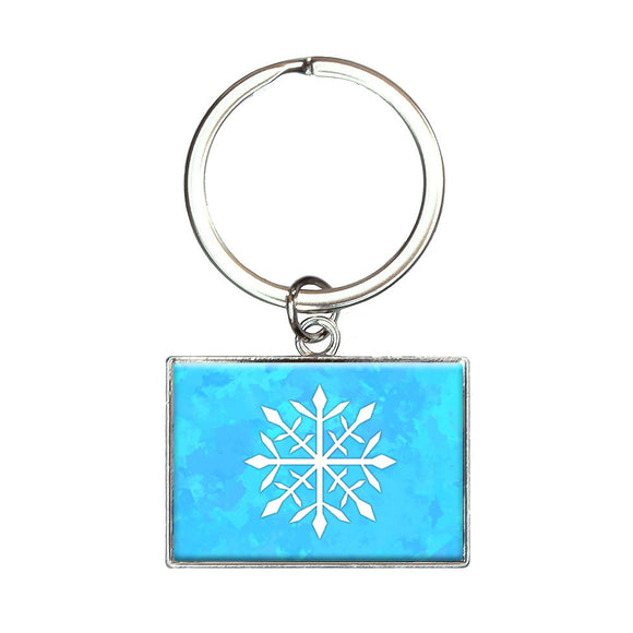 Snowflake Rectangle Keychain Key Ring