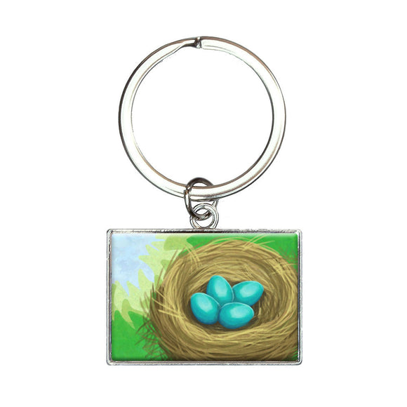 Robins Nest with Eggs Rectangle Keychain Key Ring