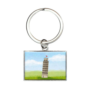 Italy Leaning Tower of Pisa Rectangle Keychain Key Ring