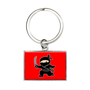 Sneaky Ninja Attacks Rectangle Keychain Key Ring