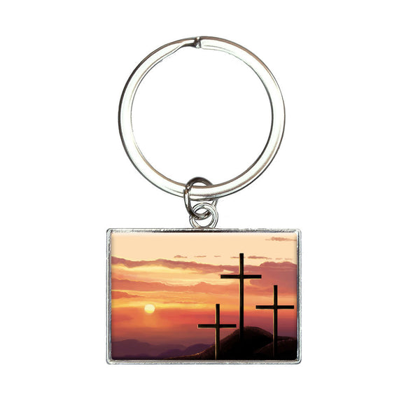 Three Crosses on Hill Rectangle Keychain Key Ring