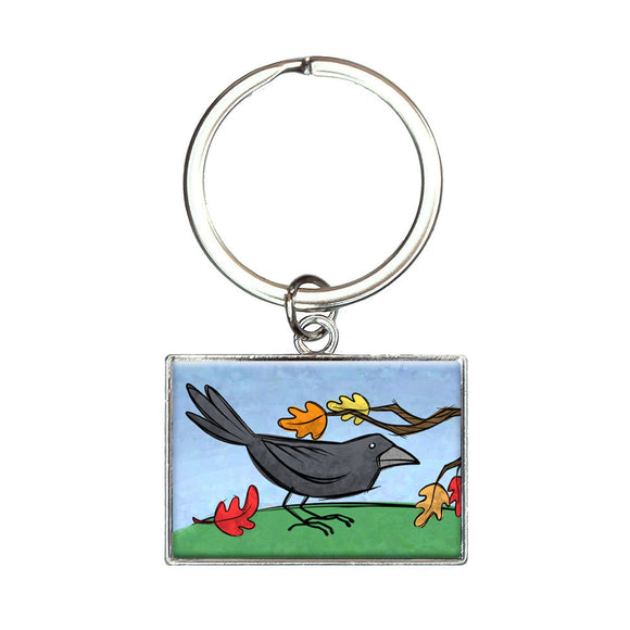 Crow in Autumn Rectangle Keychain Key Ring