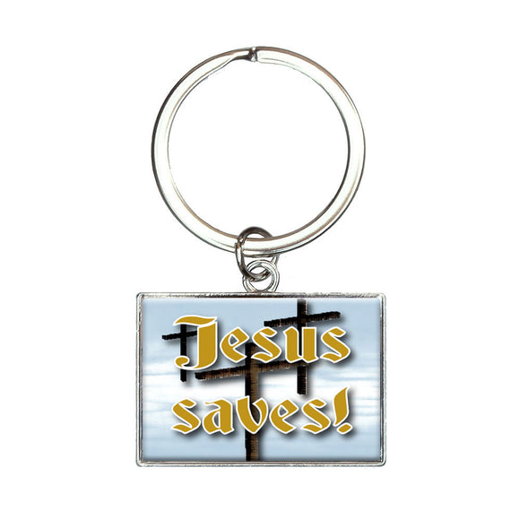 Jesus saves! Three Crosses Heaven Rectangle Keychain Key Ring