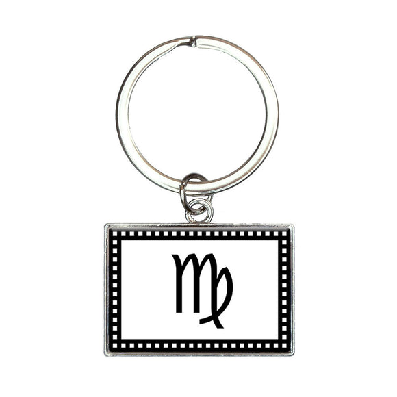 Zodiac Sign Virgo Rectangle Keychain Key Ring