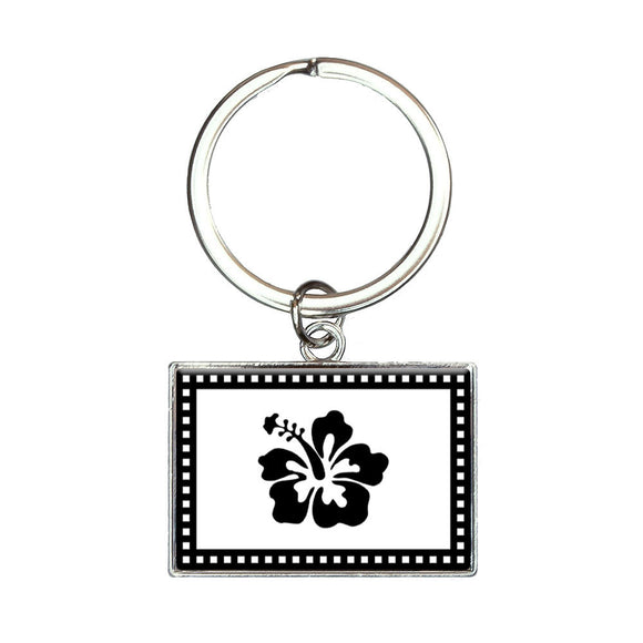 Hibiscus Rectangle Keychain Key Ring