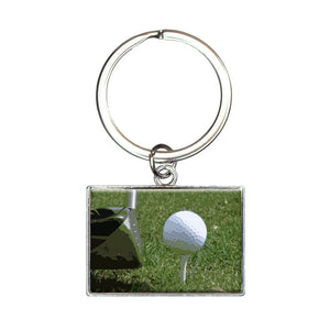 I'd Rather Be Driving a Golf Ball Rectangle Keychain Key Ring