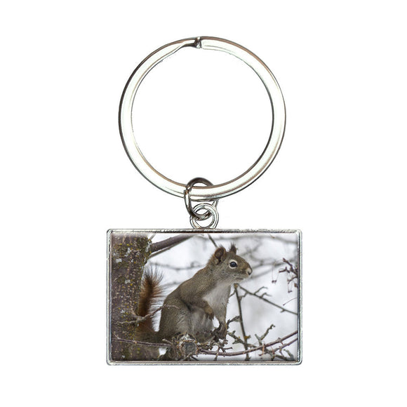 Winter Forest Tree Squirrel Rectangle Keychain Key Ring
