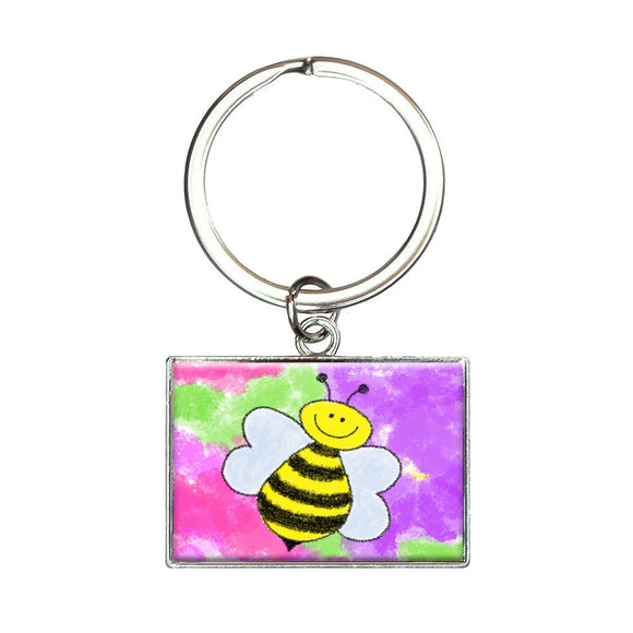 Busy As A Bee Watercolor Rectangle Keychain Key Ring