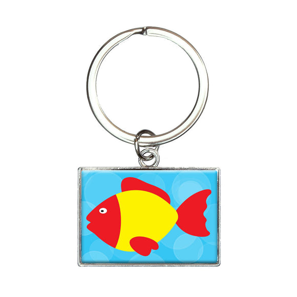 Tropical Fish Red Yellow Rectangle Keychain Key Ring