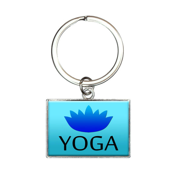 Yoga Lotus Flower Rectangle Keychain Key Ring