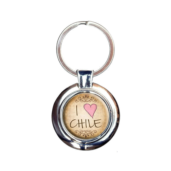I Heart Love Chile Vintage Keychain Key Ring