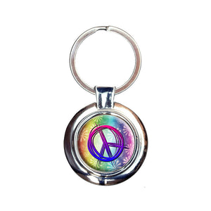 Hippie Peace Signs and Flowers Keychain Key Ring