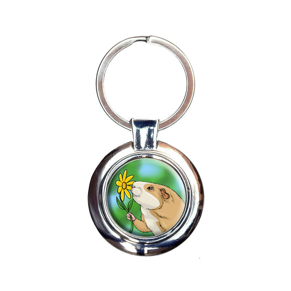 Guinea Pig Smelling Flower Keychain Key Ring