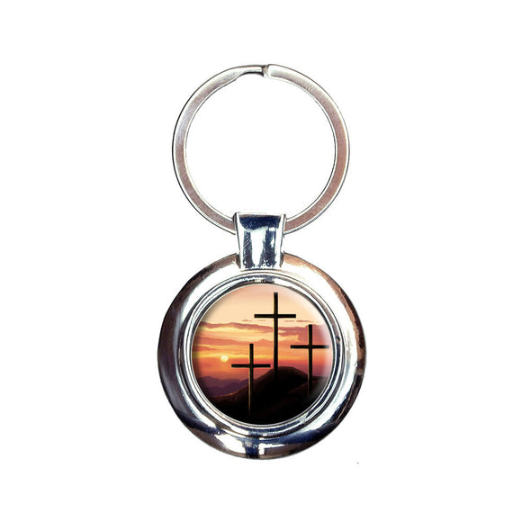 Three Crosses on Hill Keychain Key Ring