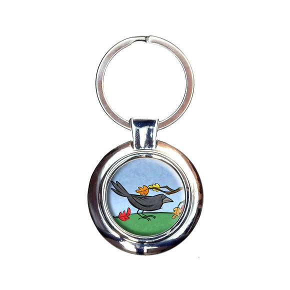 Crow in Autumn Keychain Key Ring