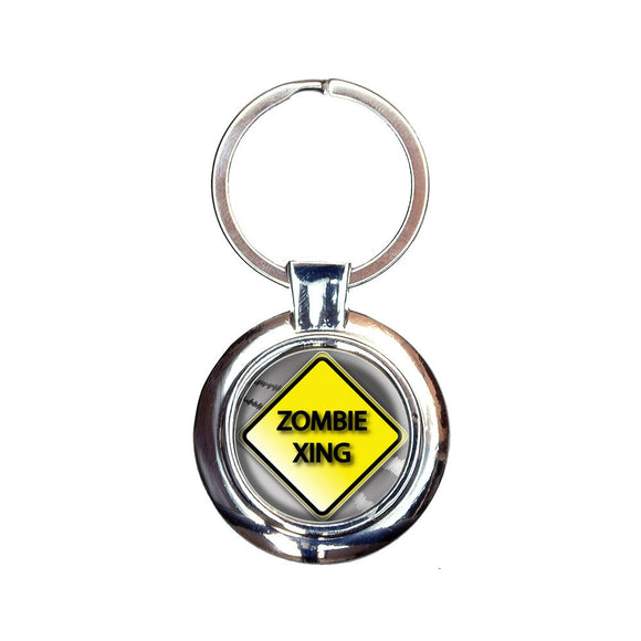 Zombie Xing Crossing Stylized Yellow Grey Caution Sign Keychain Key Ring