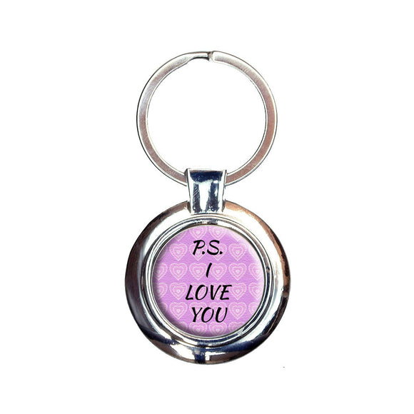 PS I Love You on Pink Hearts Pattern Keychain Key Ring