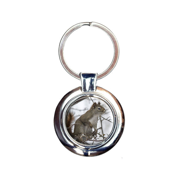 Winter Forest Tree Squirrel Keychain Key Ring