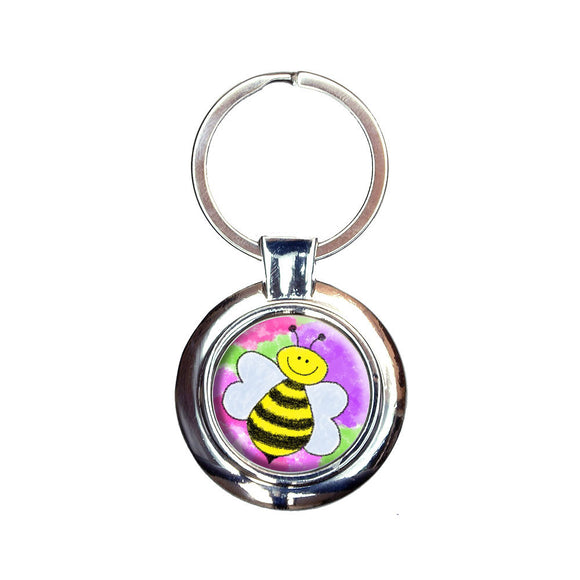 Busy As A Bee Watercolor Keychain Key Ring