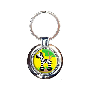 Zebra And Tree Cute Keychain Key Ring