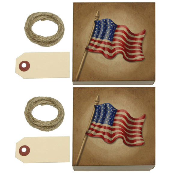 Vintage American Flag Kraft Gift Boxes Set of 2