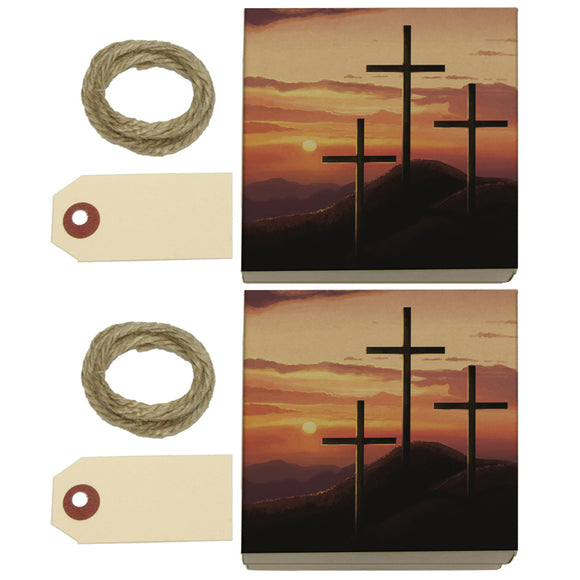 Three Crosses on Hill Kraft Gift Boxes Set of 2