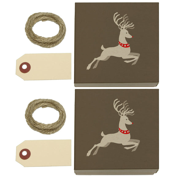 Prancing Reindeer Christmas Kraft Gift Boxes Set of 2