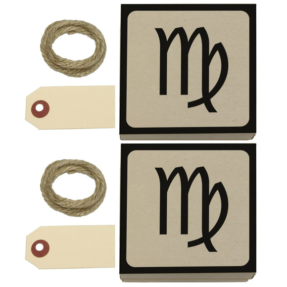 Zodiac Sign Virgo Kraft Gift Boxes Set of 2