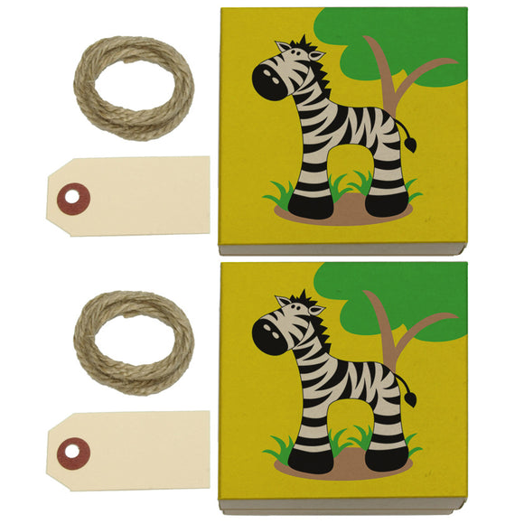 Zebra And Tree Cute Kraft Gift Boxes Set of 2